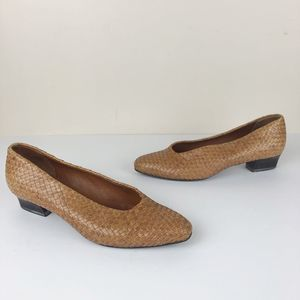 Vintage BKS Studio Brown Leather Woven Low Heels